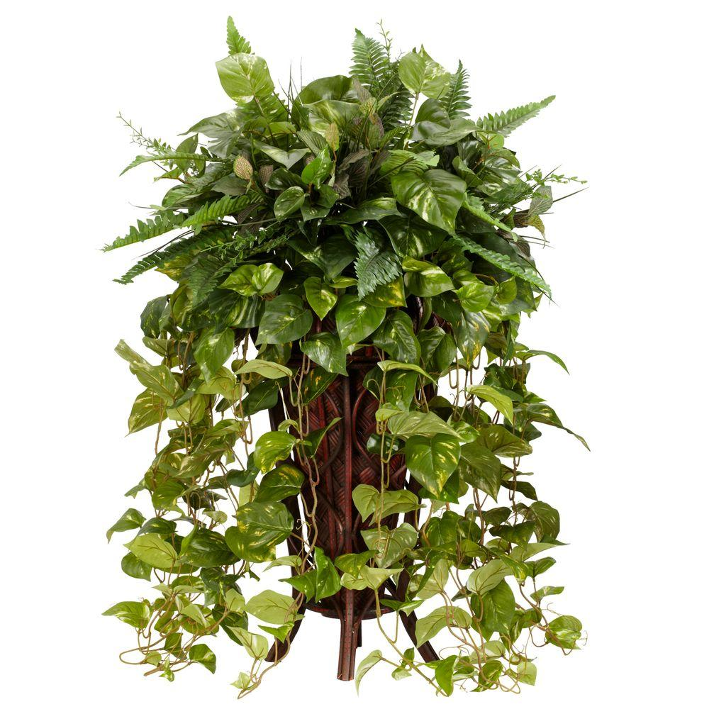 Nearly Natural 36 in. H Green Vining Mixed Greens with De...