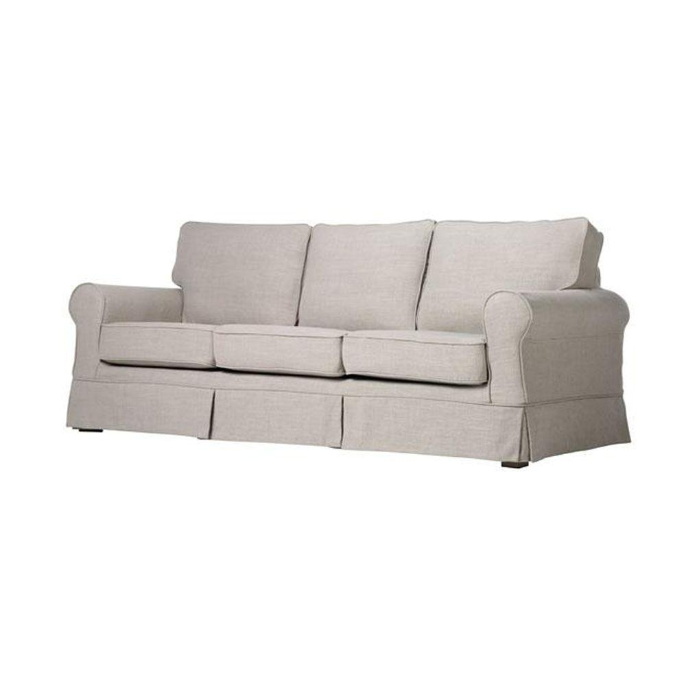 Home Decorators Collection Sophia Natural Linen 83 in. W Slipcover Sofa-DISCONTINUED