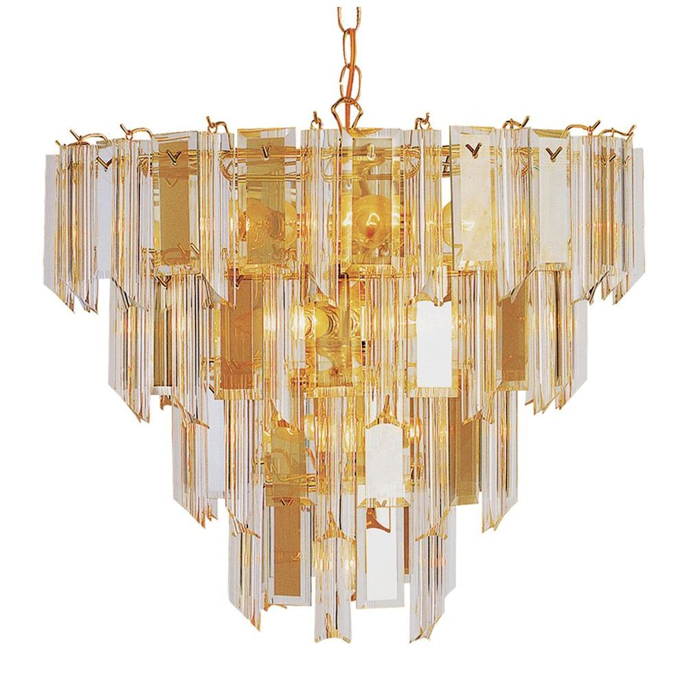 Bel Air Lighting Stewart 13-Light Bronze Chandelier with Beveled Acrylic Crystal Shades