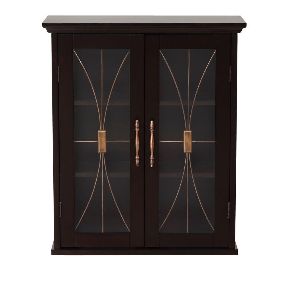 Elegant Home Fashions Victorian 20.5 in. W x 8.5 in. D x 24 in. H Wall Cabinet in Espresso, Dark Brown Wood