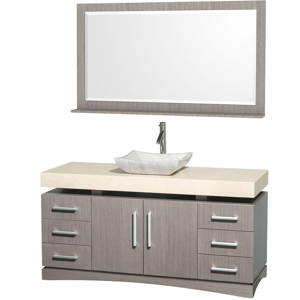 Wyndham Collection Monterey 60 in. Vanity in Grey Oak with Marble Vanity Top in Ivory and Carrera Marble Sink-DISCONTINUED