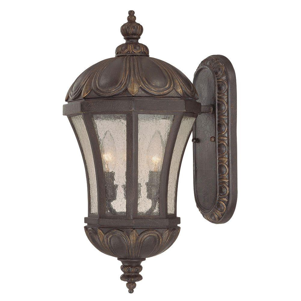 Illumine 3-Light Wall Mount Lantern Old Tuscan Pale Cream Seeded Glass