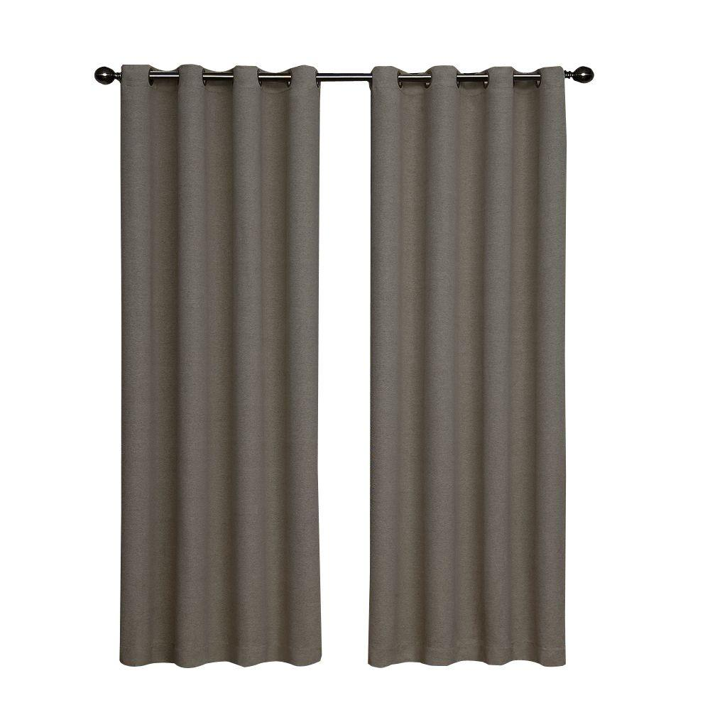 Bobbi Blackout Pewter Curtain Panel, 63 in. Length