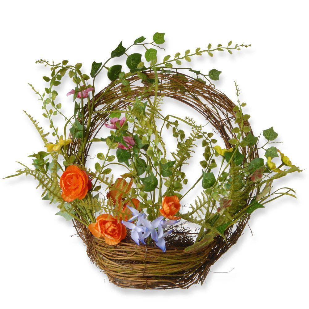 National Tree Company 16 in. Spring Wreath with Basket-RAS-150316-1 - The