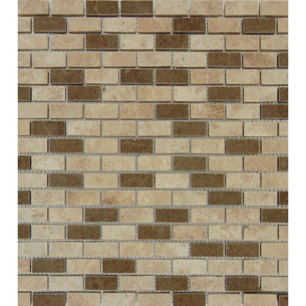 MS International Noce/Chiaro Mini Brick 12 in. x 12 in. x 10 mm Honed Travertine Mesh-Mounted Mosaic Tile, Multi Color