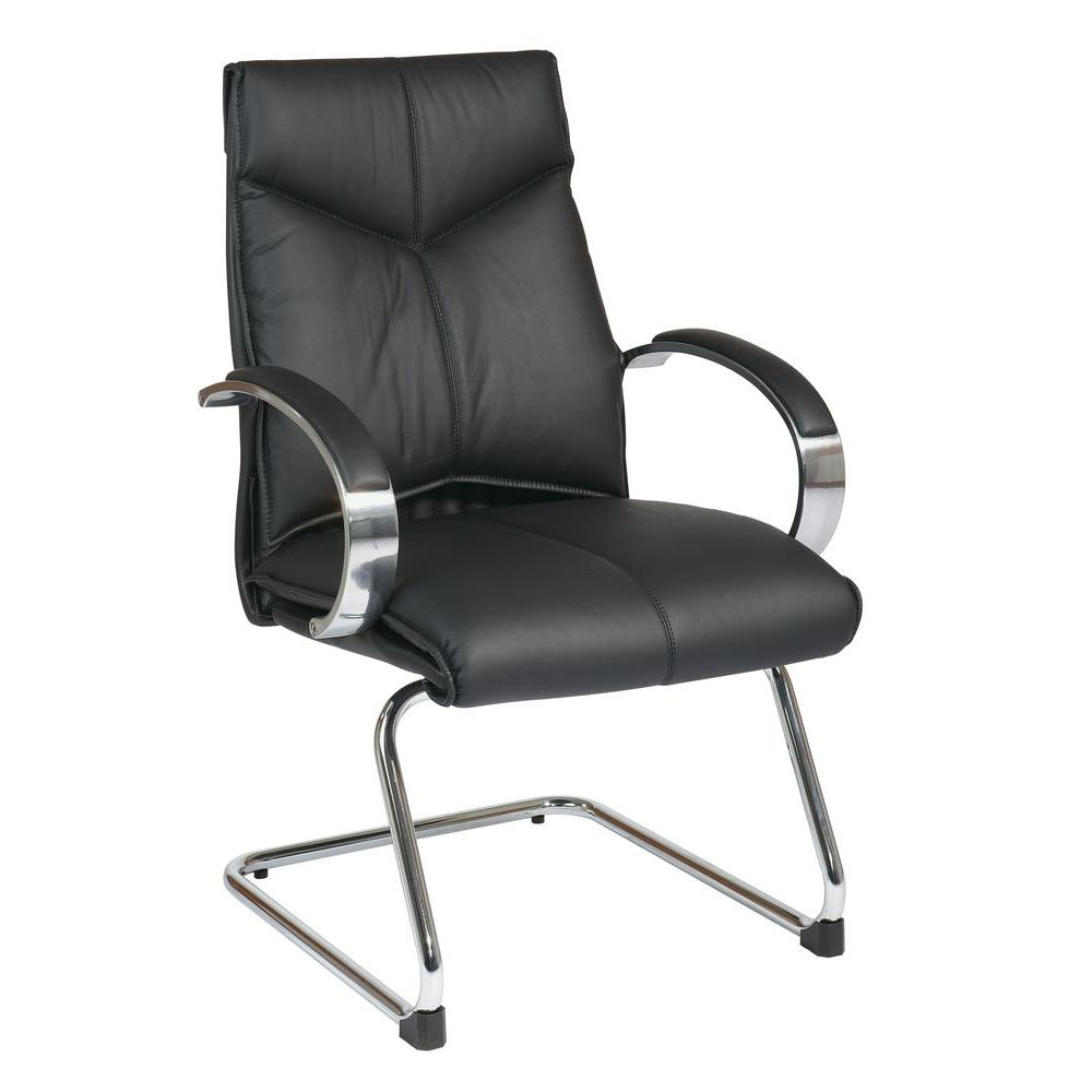 Pro-Line II Black Leather Mid Back Visitor Office Chair