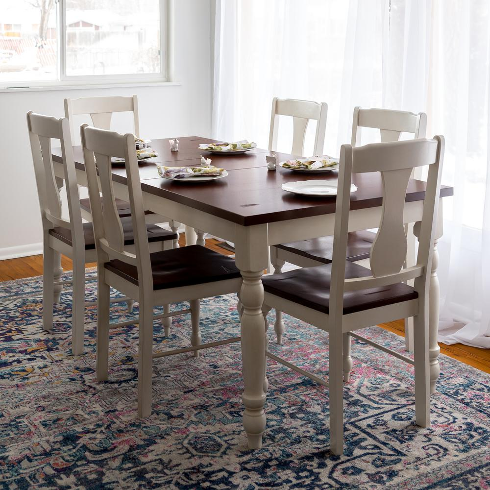 Walker Edison Furniture Company Two Toned 7 Piece Bourbon And White Dining Set Hd60wtlwbn The