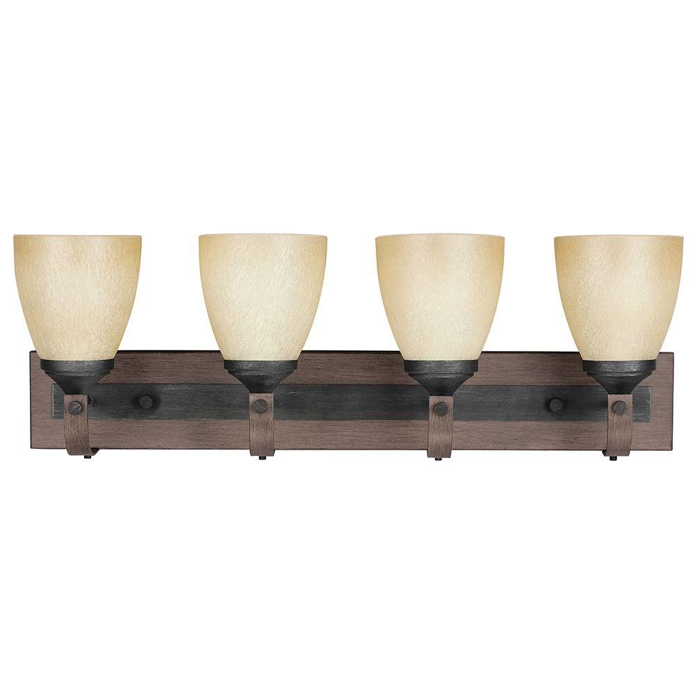 Sea Gull Lighting Corbeille 4-Light Stardust Wall/Bath Fixture with Creme Parchment Glass