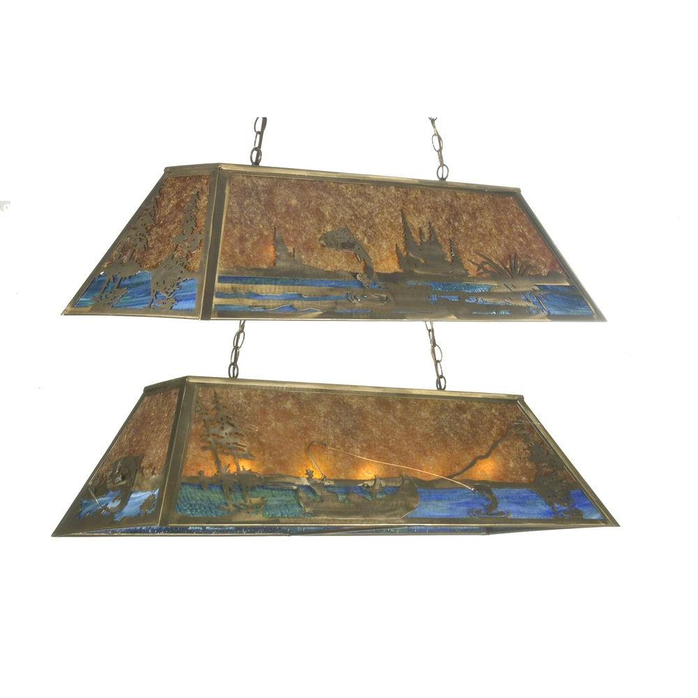 Illumine 9 Light Trout and Fisherman Oblong Pendant Antique Copper Finish Mica