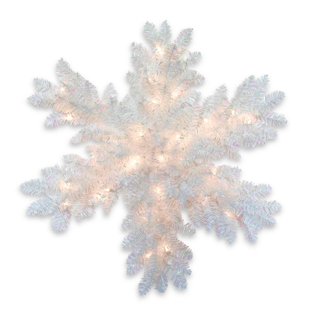 32 in. White Iridescent Tinsel Artificial Snowflake with Battery Operated Warm