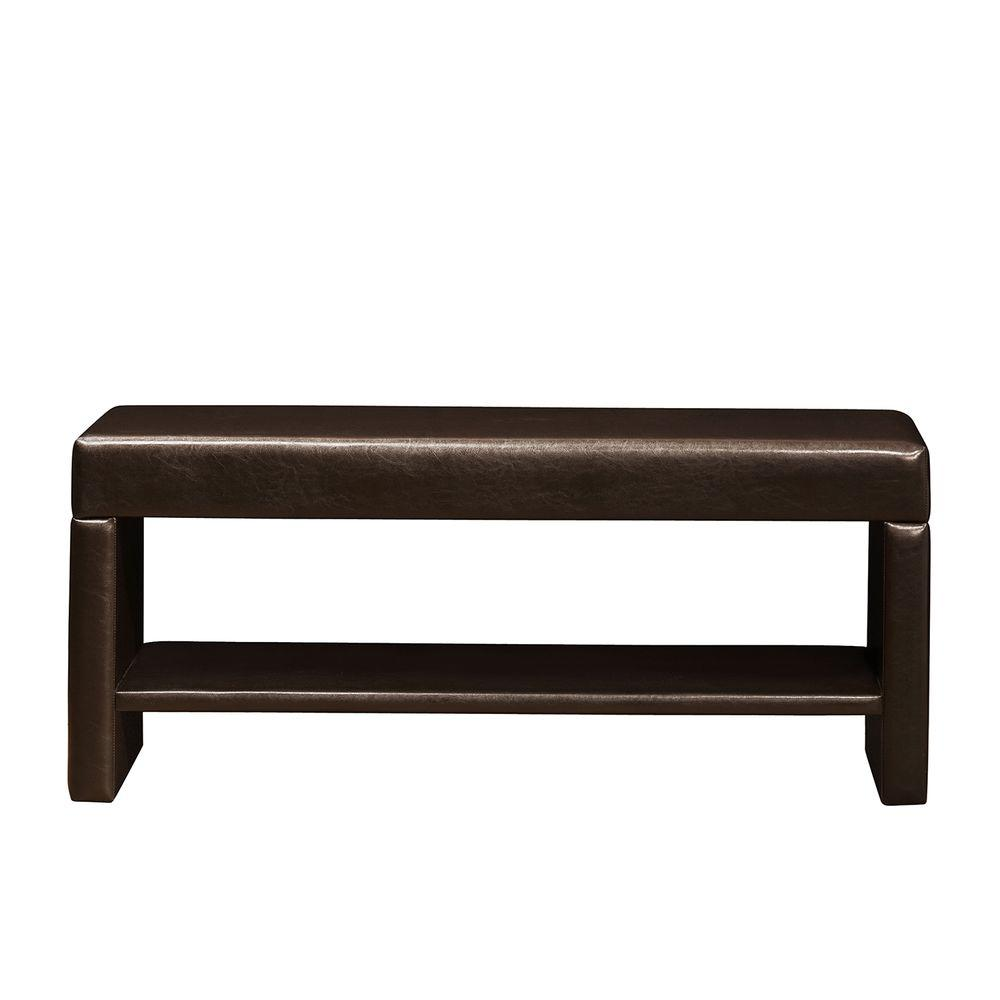 null Bi-cast Vinyl Bench with Lower Shelf-DISCONTINUED