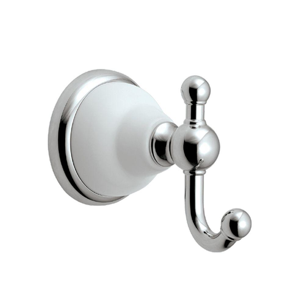 Gatco Franciscan Single Robe Hook in Polished Chrome and Porcelain