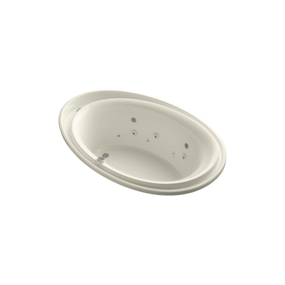 Purist 6 ft. Acrylic Oval Drop-in Whirlpool Bathtub in Biscuit