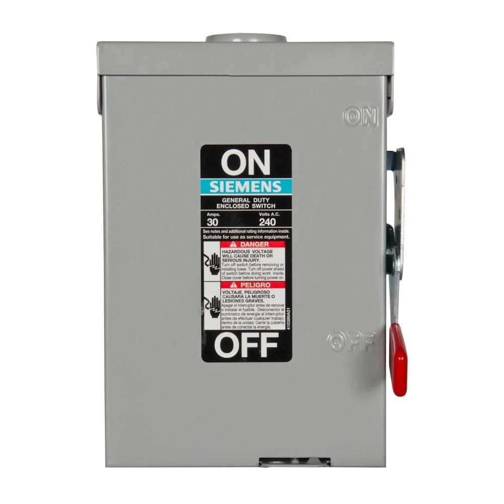 General Duty 30 Amp 2-Pole Fusible Outdoor Safety Switch with Neutral