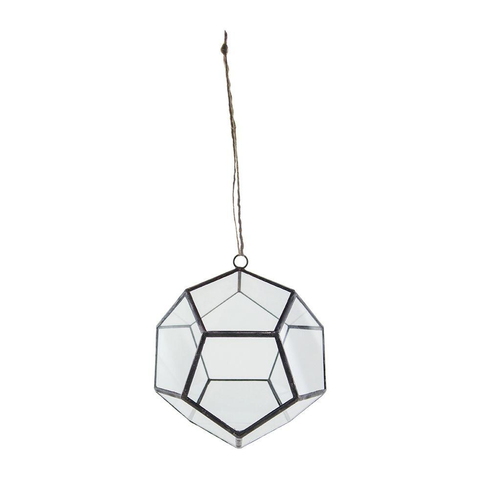 6 in. Geometric Terrarium Crystal Glass Dodecahedron Hanging