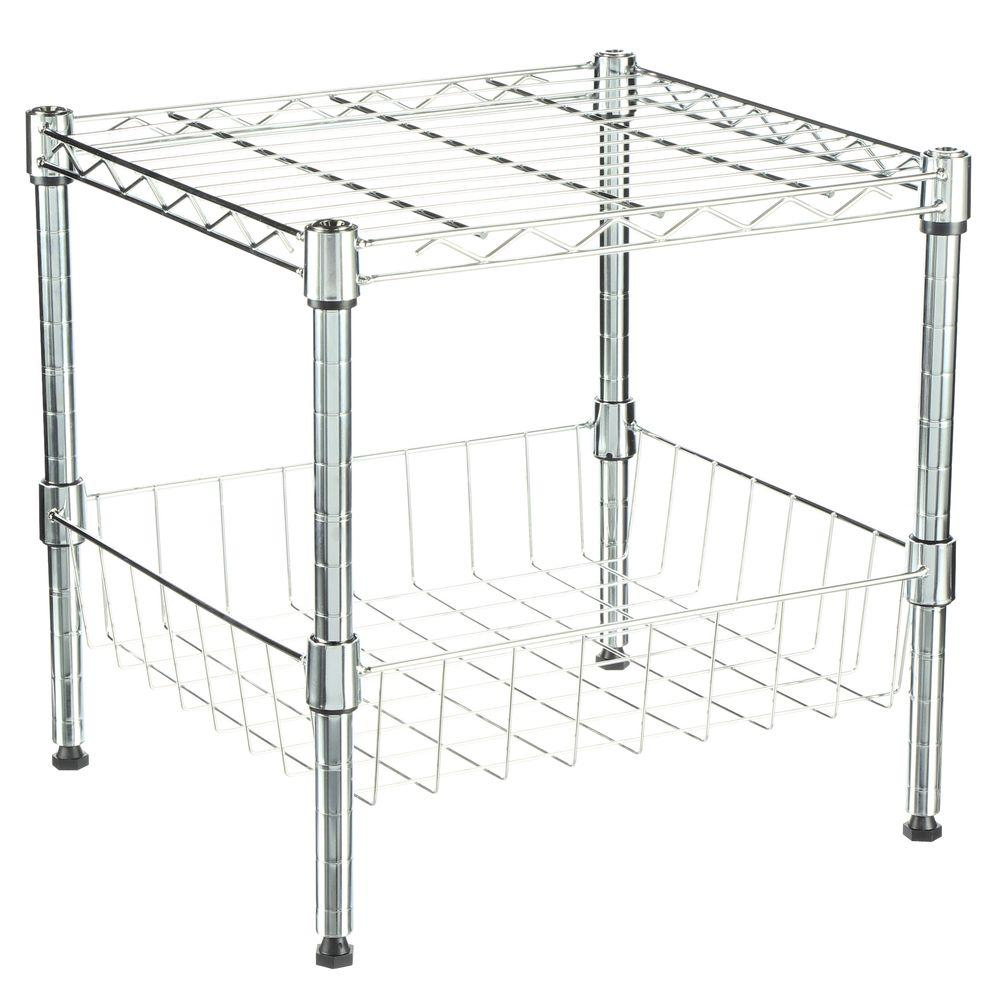 Supreme Shelving Collection 15 in. x 15 in. Supreme Stacking Shelf with Basket in Chrome (Grey)