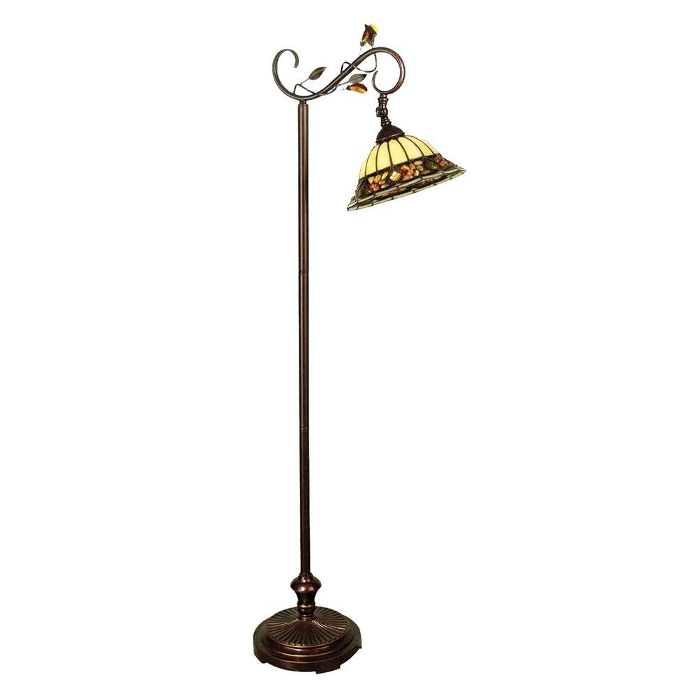Dale Tiffany Pebblestone 60 in. Antique Golden Bronze Floor Lamp