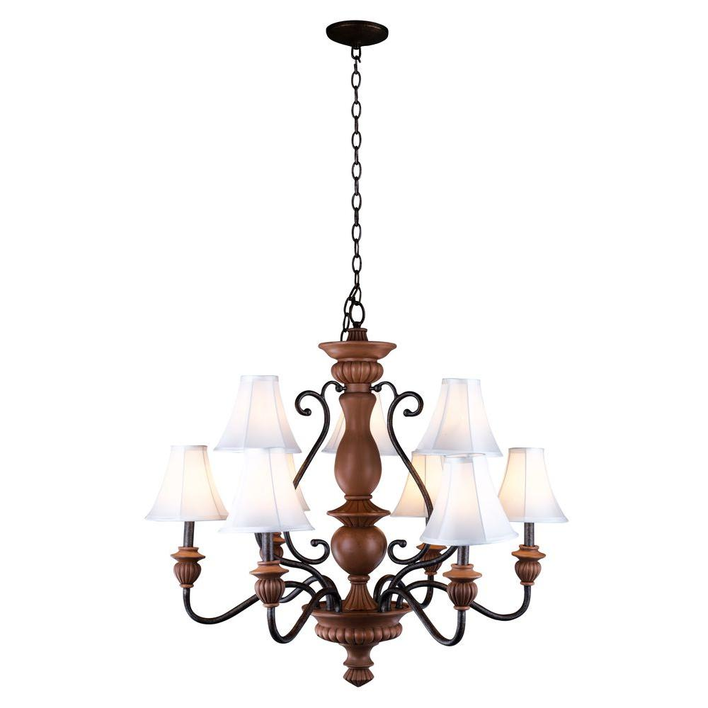 Elysia Collection 9-Light Antiqued Gold Chandelier with Elegant White Fabric