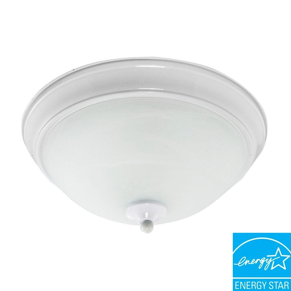 Efficient Lighting Classical Flush Mount in Powder Coated White Finish with Bulbs-DISCONTINUED