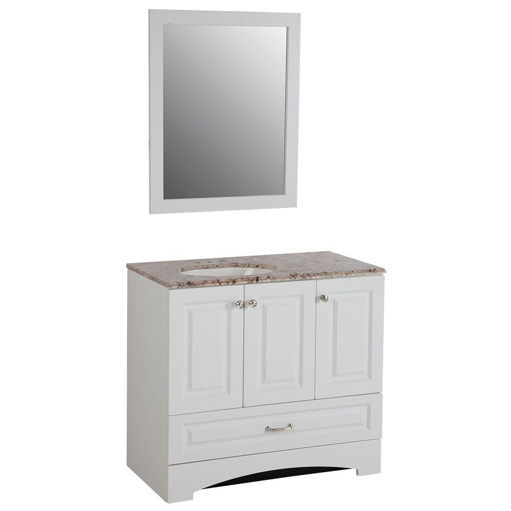 Glacier Bay Stafford 36 in. Vanity in White and Stone Effects with Vanity Top in Rustic Gold and Mirror