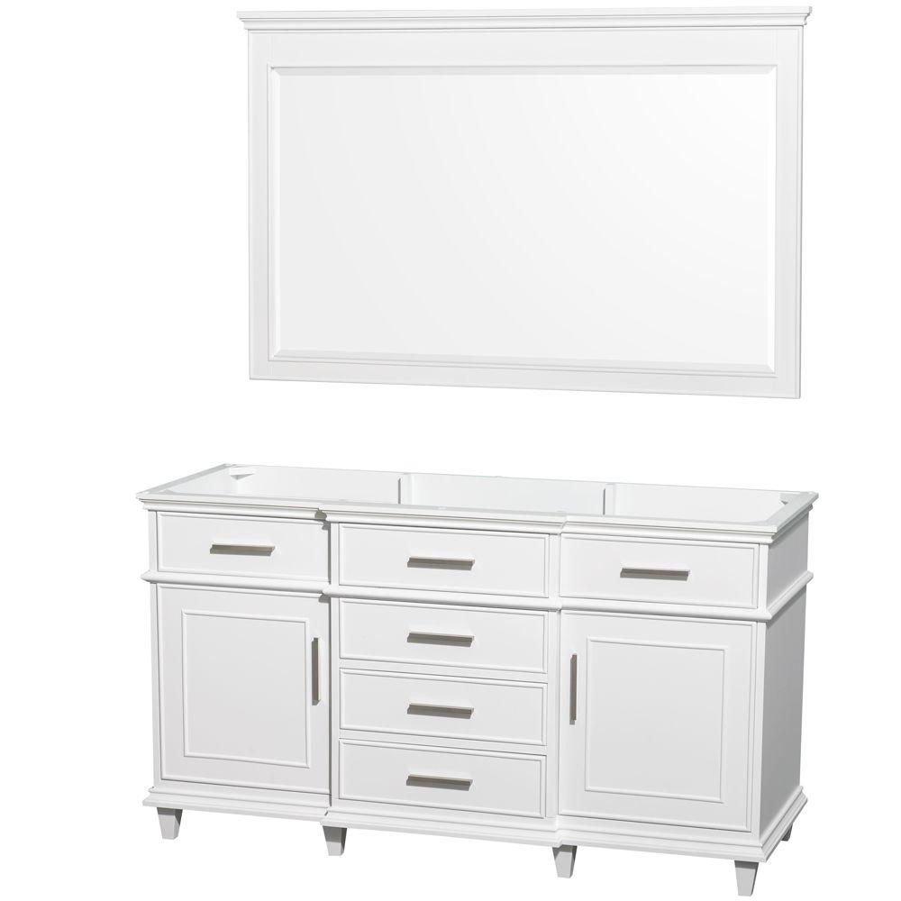 Home decorators collection gazette 60 in vanity cabinet only in white with center bowl design Home depot bathroom design center