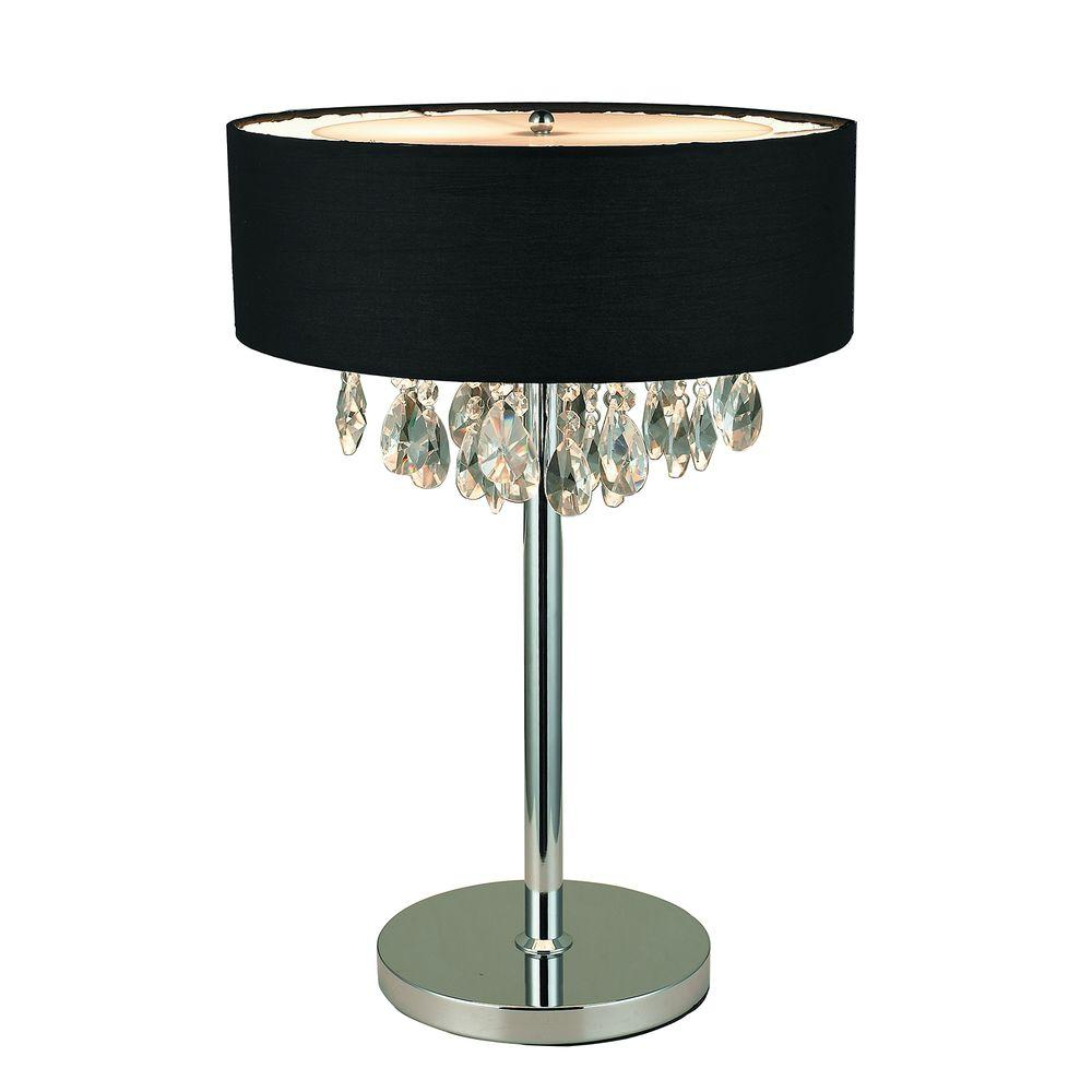 Elegant Designs Romazzino Crystal Collection 22.25 in. Chrome Table Lamp with Black Ruched Fabric Drum Shade