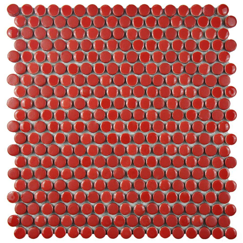 Merola Tile Comet Penny Round Red 11-1/4 in. x 11-3/4 in. x 9 mm Porcelain Mosaic Tile