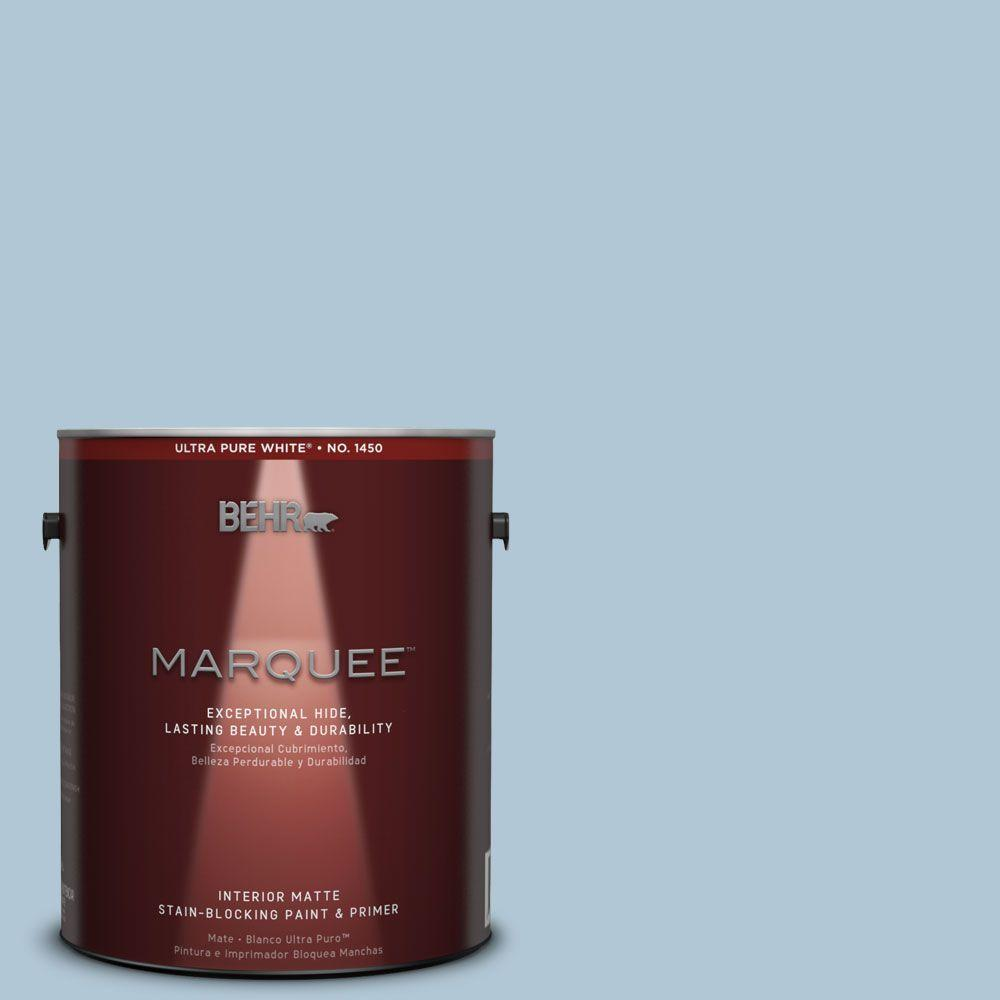 Interior Paint, Exterior Paint & Paint Samples: BEHR MARQUEE Paint 1-gal. #T15-8 Elusive Blue Matte Interior Paint 145001