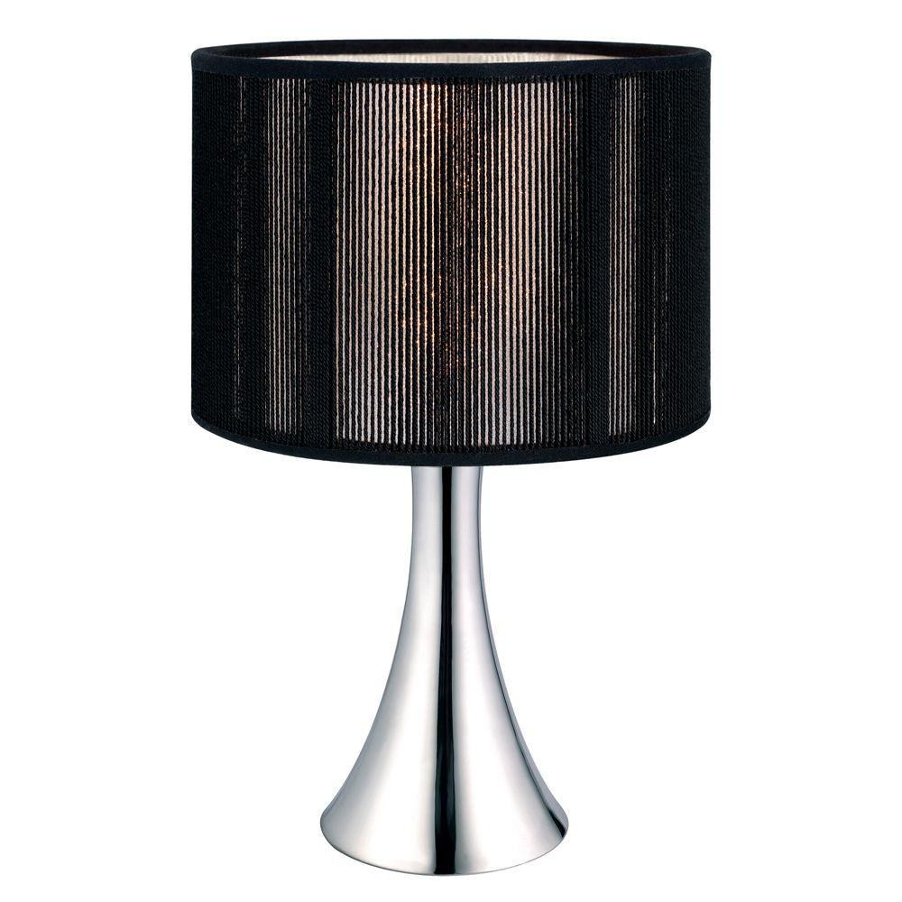 Eglo Fabienne 12-1/2 in. Chrome Table Lamp with Black Shade