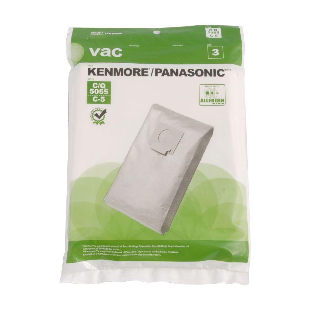 Vac Kenmore/Panasonic Type 5055/C-5 Bags (3-Pack)-AA10007 - The Home Depot