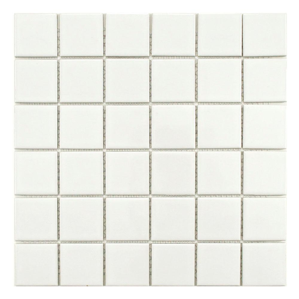 Merola Tile Metro Quad Glossy White 12-1/4 in. x 12-1/4 in. x 5 mm Porcelain Mosaic Tile (10.4 sq. ft. / case)