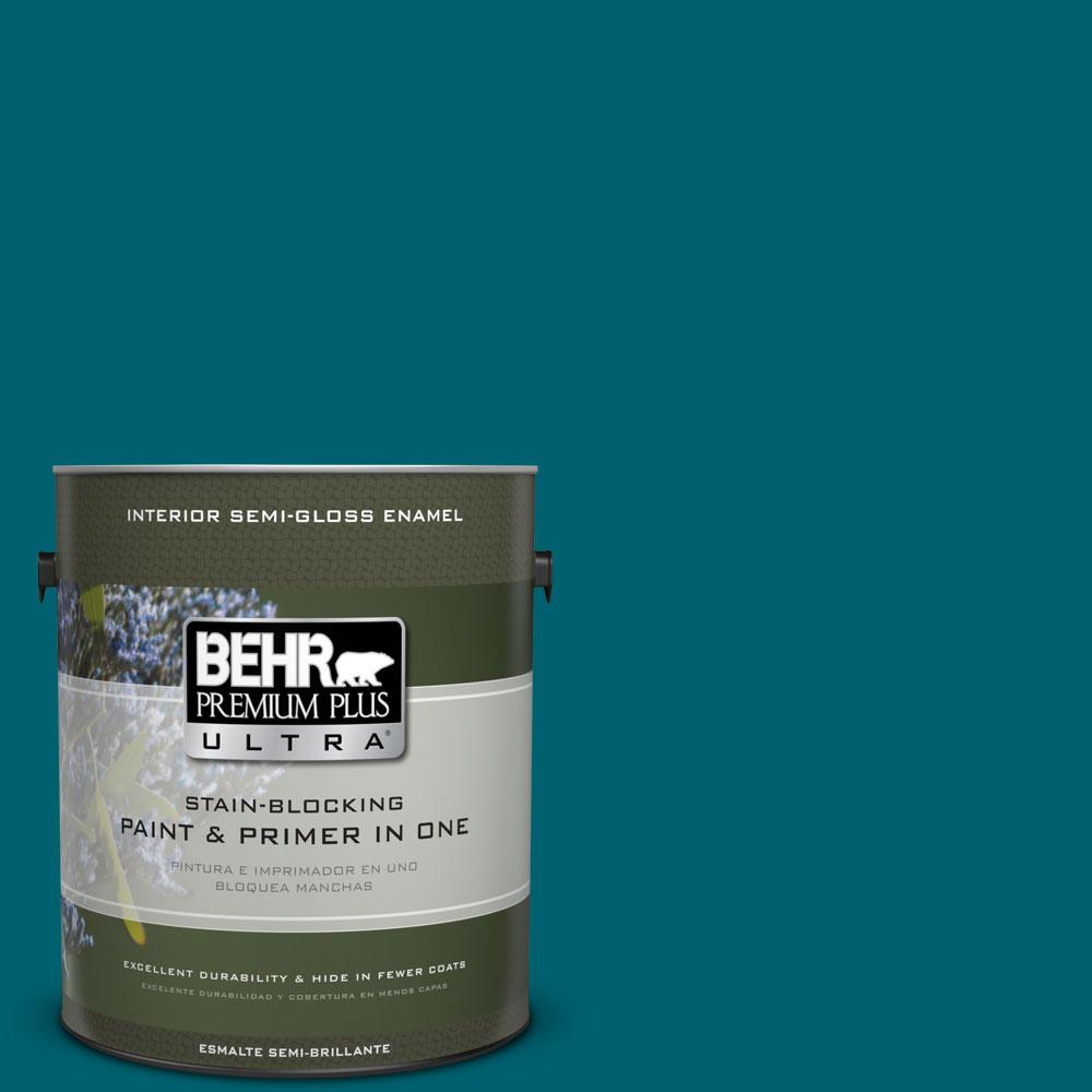 BEHR Premium Plus Ultra 1-gal. #S-H-520 Peacock Tail Semi-Gloss Enamel Interior Paint