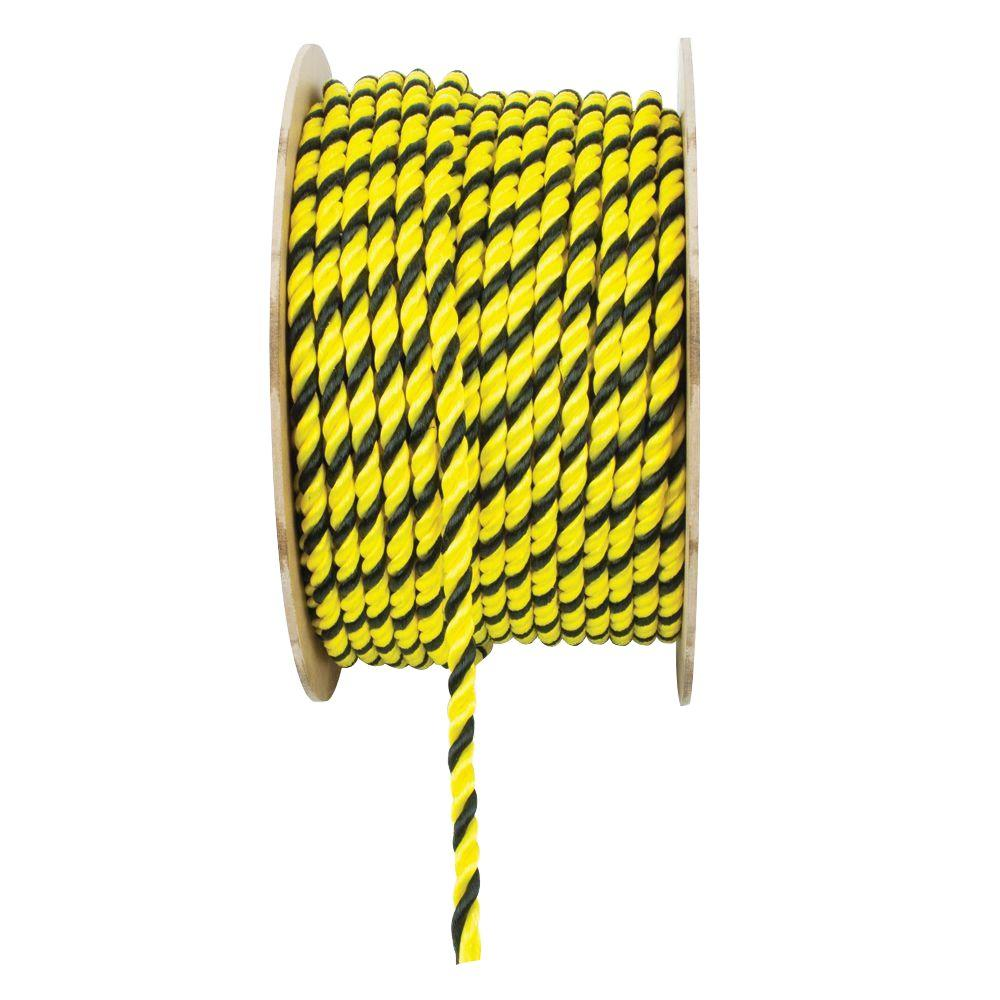 1/2 in. x 1 ft. Yellow and Black Twisted Polypropylene Rope
