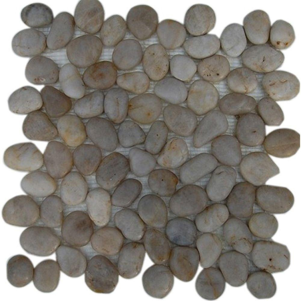 Splashback Tile Flat 3D Pebble Rock Beige Stacked 12 in. x 12 in. Marble Mosaic Floor and Wall Tile