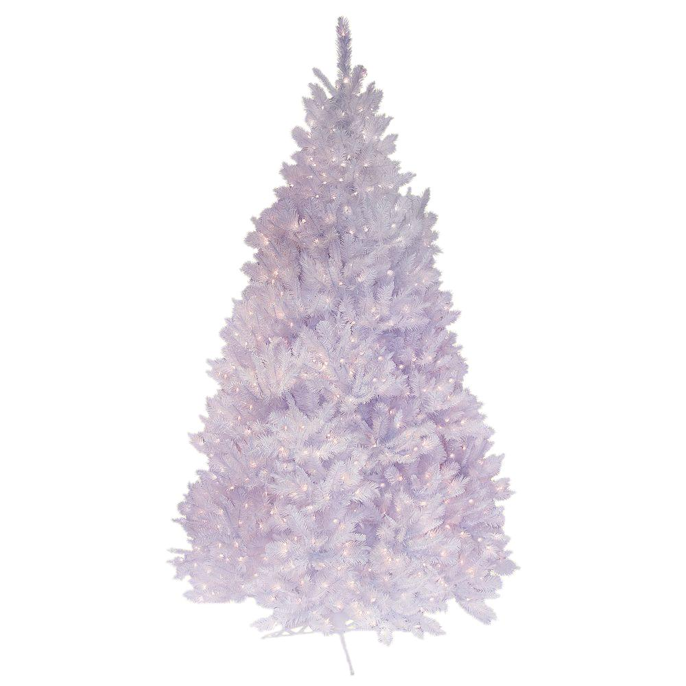 General Foam 7.5 ft. Pre-Lit Deluxe Winter White Fir Artificial Christmas Tree with Clear Lights