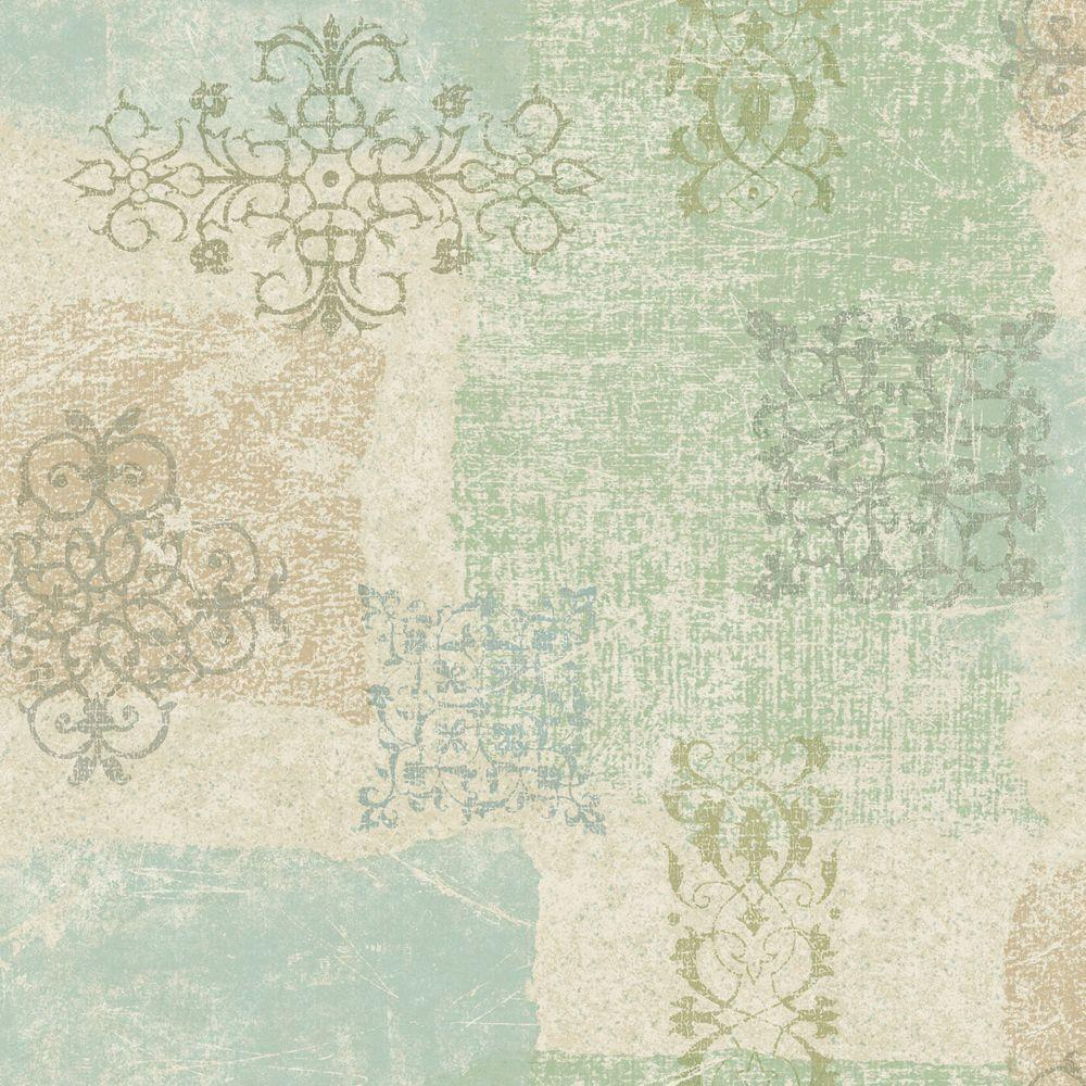 The Wallpaper Company 56 sq. ft. Pastel Patchwork Scroll Wallpaper-DISCONTINUED