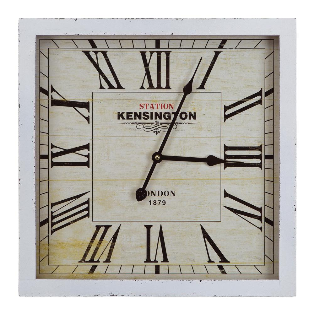 yosemite home decor 16 in square mdf wall clock in distressed white wooden frame clka1b950 the home depot - Yosemite Home Decor