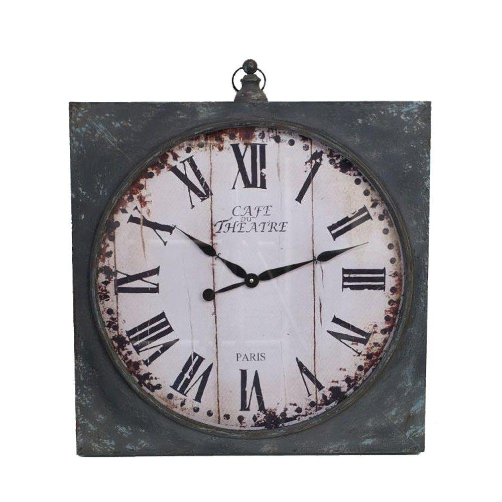 Home Decorators Collection 30 in. x 26 in. Oliver Antique Grey Metal Wall Clock