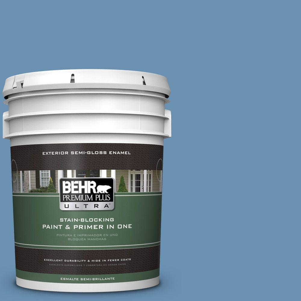 5-gal. #M510-4 Brittany Blue Semi-Gloss Enamel Exterior Paint