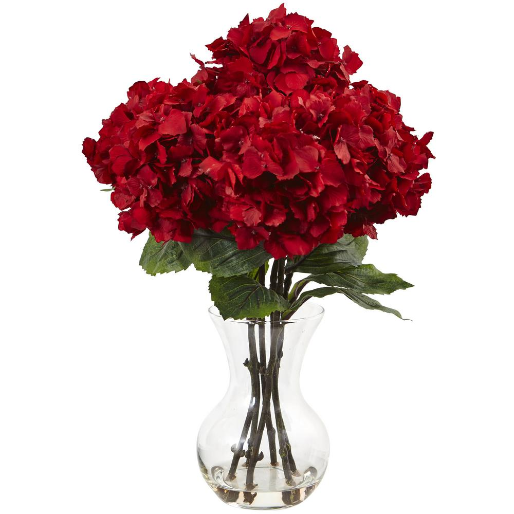 Nearly Natural Red Hydrangea with Vase Silk Flower Arrangement-1442 - The
