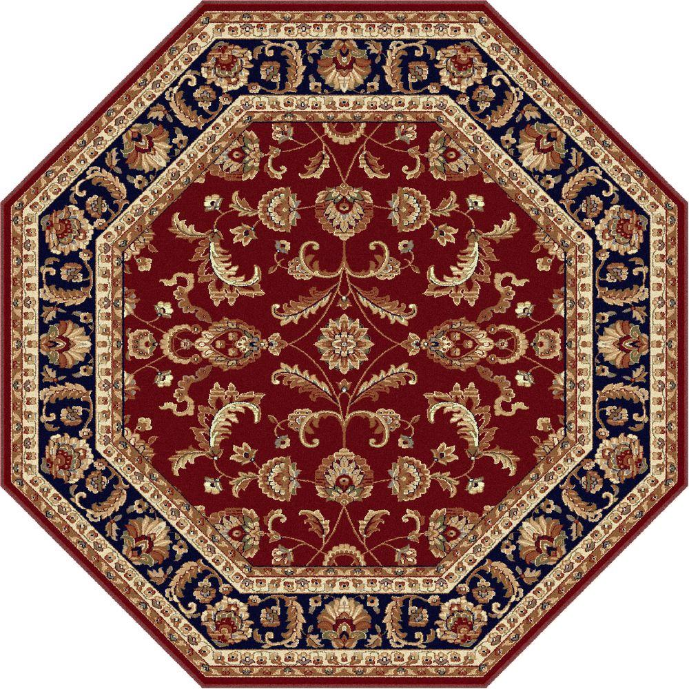 Tayse Rugs Sensation Red 7 ft. 10 in. Octagon Transitional Area