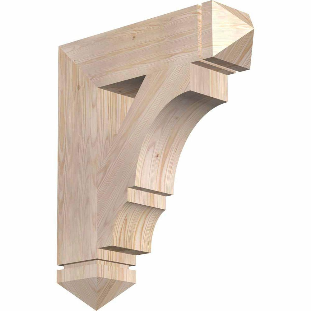 Ekena Millwork 5.5 in. x 28 in. x 24 in. Douglas Fir Balboa Arts and Crafts Smooth Bracket