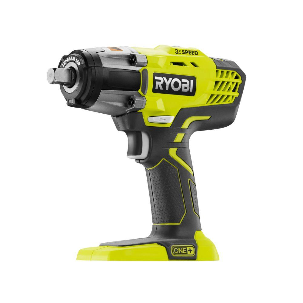 ryobi 18 volt one 1 2 in cordless 3 speed impact wrench tool only p261 the home depot. Black Bedroom Furniture Sets. Home Design Ideas