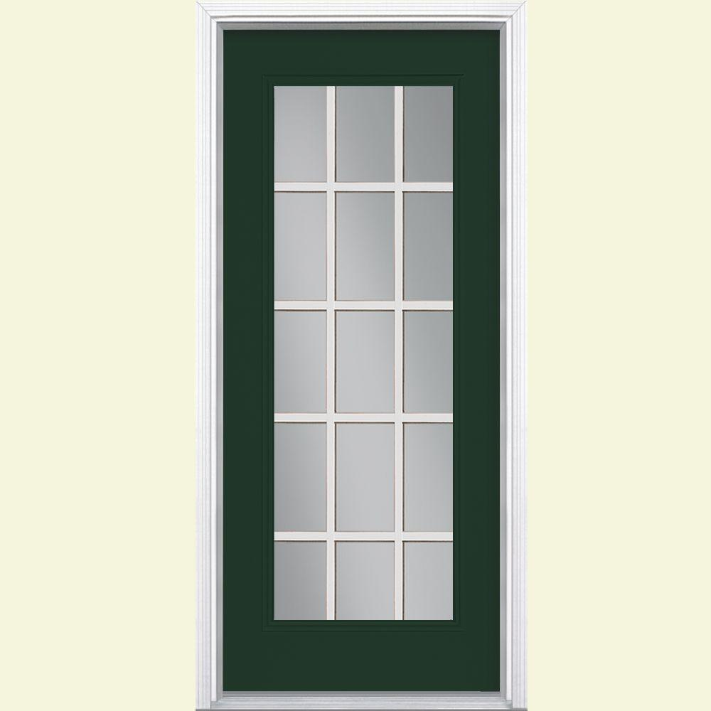 Masonite 32 in x 80 in 15 lite painted steel prehung for Steel front entry doors