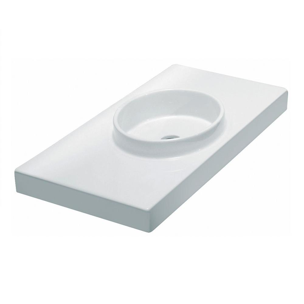 LaToscana Planet Wall-Mount Bathroom Sink in White-DISCONTINUED