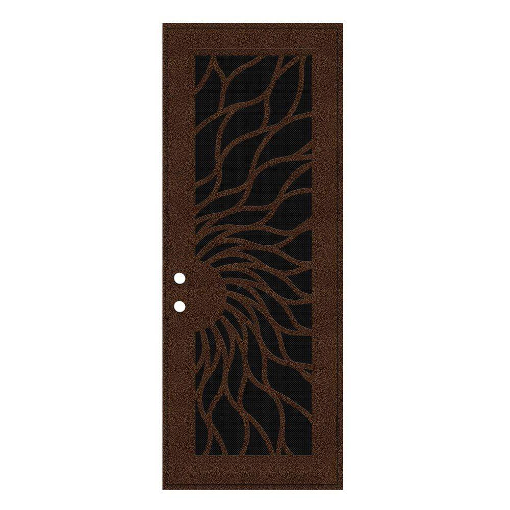 Unique Home Designs 36 in. x 96 in. Sunfire Copperclad Right-Hand Recessed Mount Aluminum Security Door with Black Perforated Screen