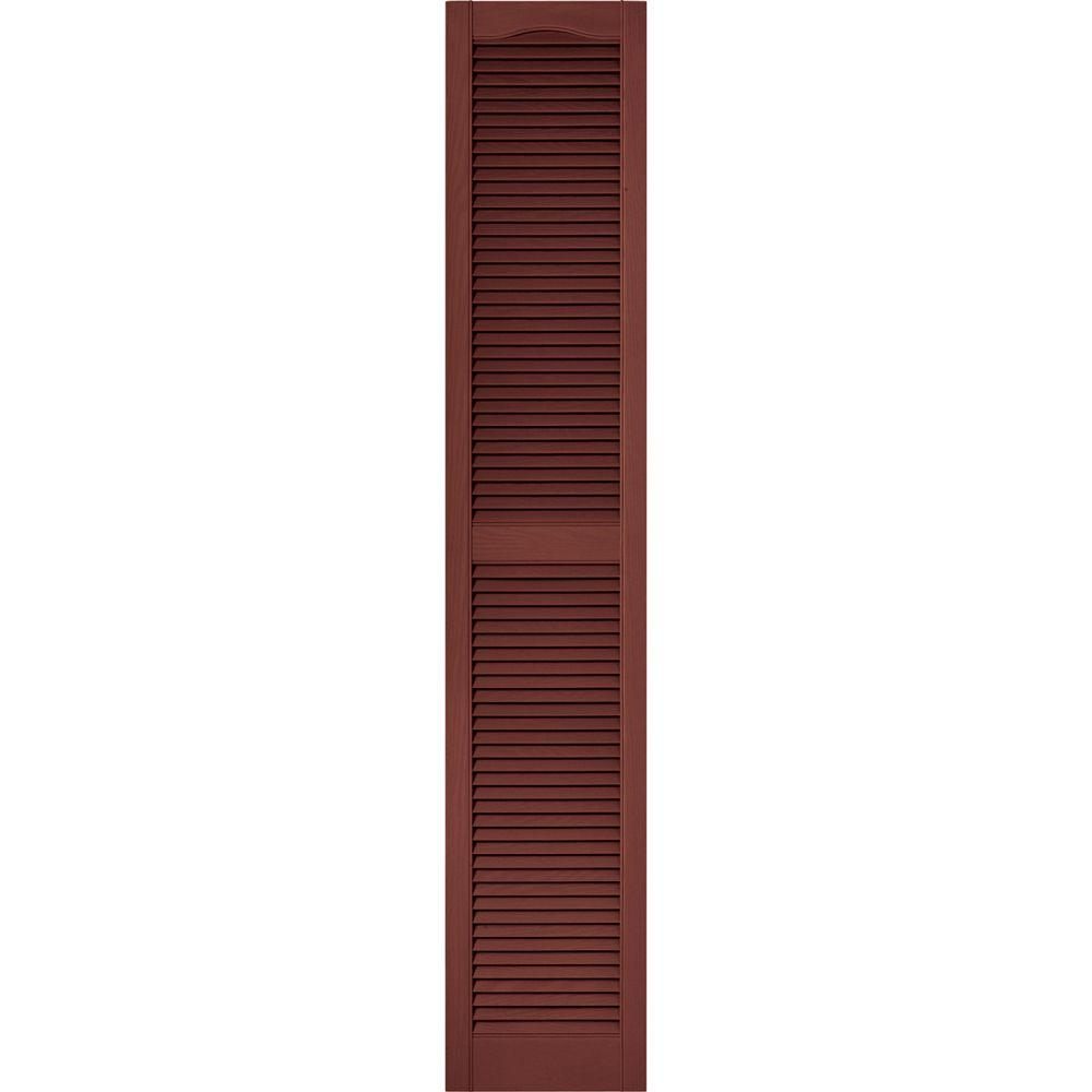 15 in. x 80 in. Louvered Vinyl Exterior Shutters Pair #027