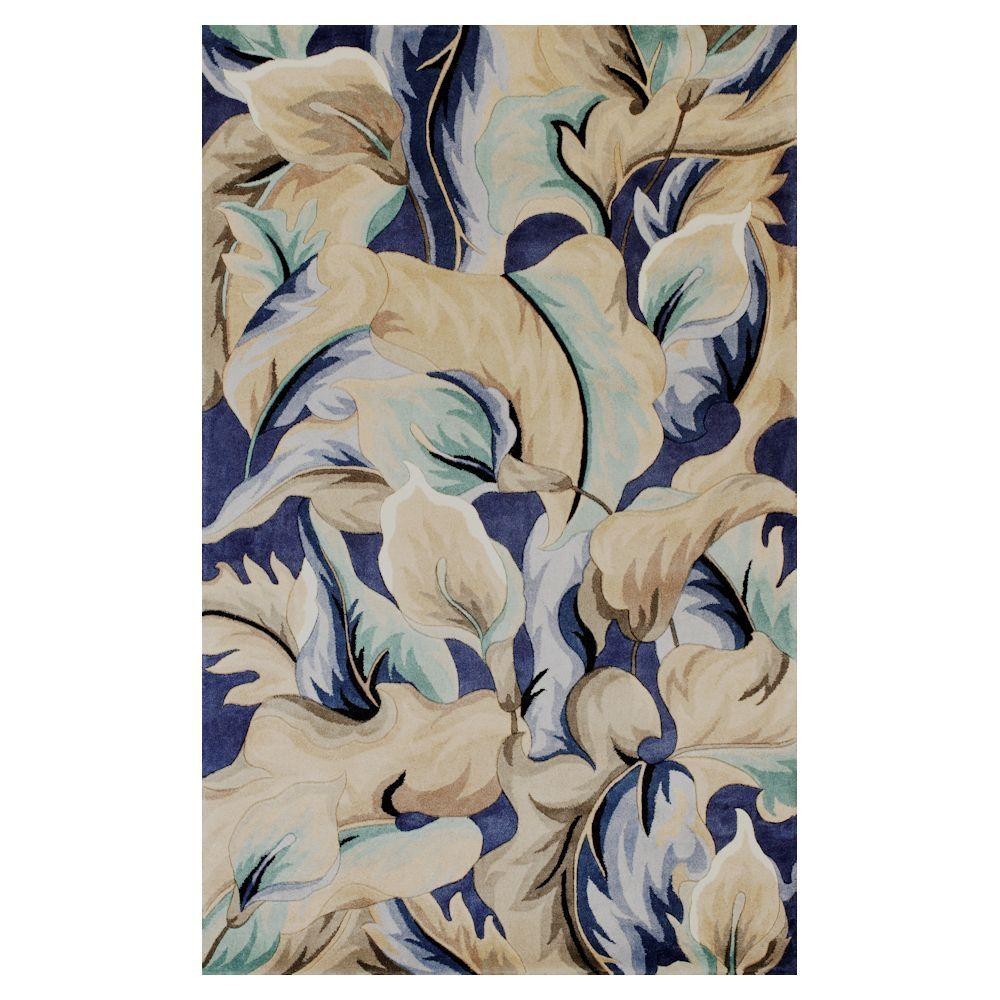 Kas Rugs Exotic Lily Blue 5 ft. x 8 ft. Area