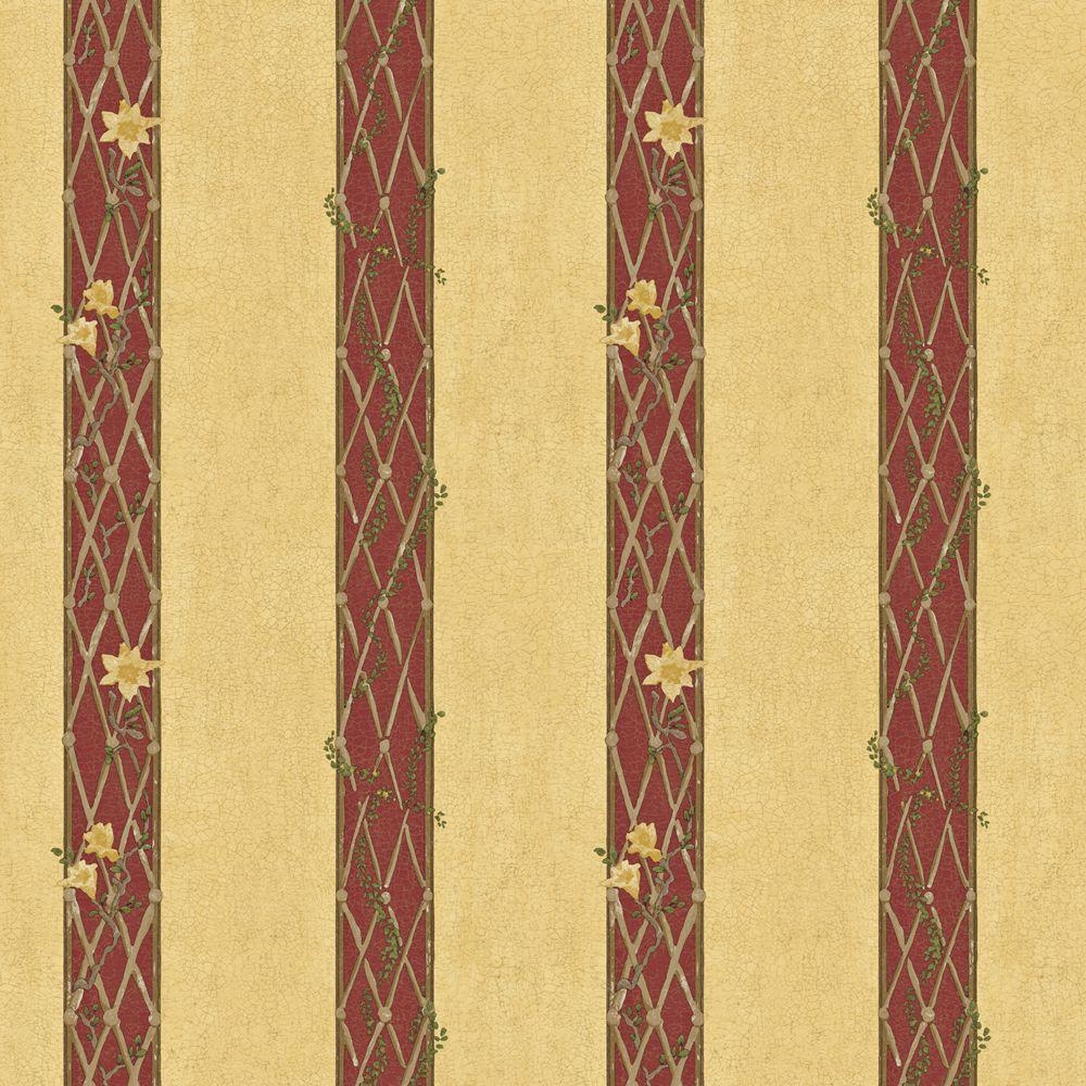 The Wallpaper Company 56 sq. ft. Yellow and Red Lattice Stripe Wallpaper-DISCONTINUED