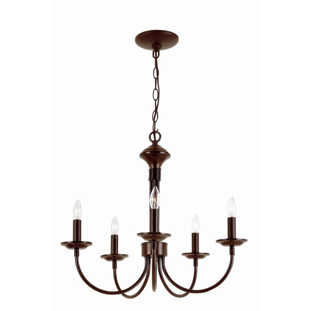 Stewart 5-Light Rubbed Oil Bronze Incandescent Ceiling Chandelier-9015 ROB - The